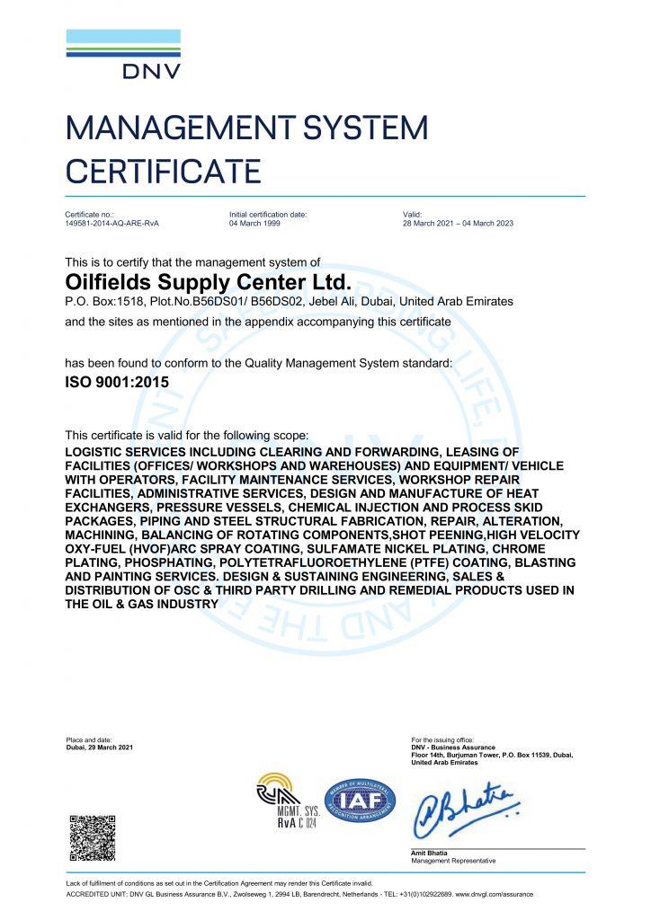 ISO 9001-2015 - OSC1 2021
